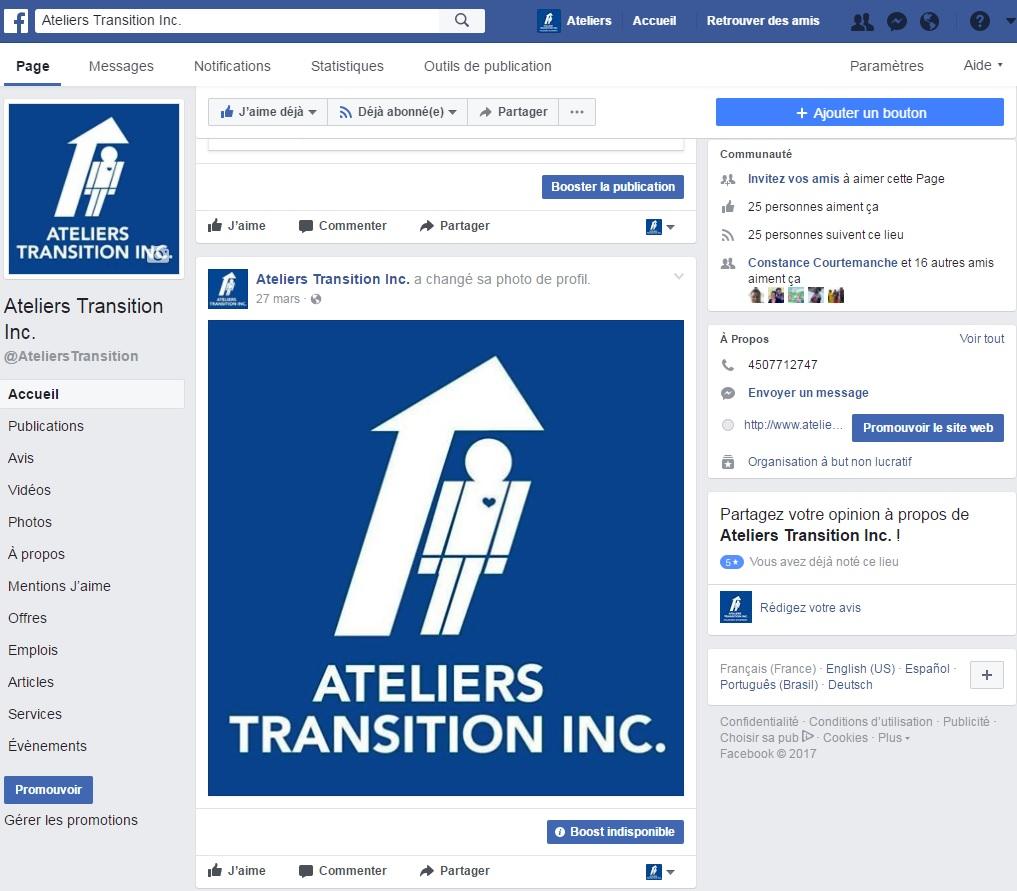 Page Facebook pour Les Ateliers Transition inc.